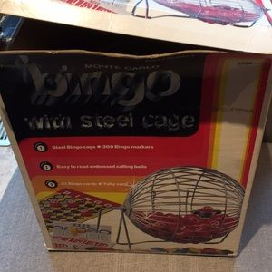 Vintage bingo with steel cage in box